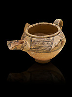Decorated terra cotta tree handled vessel with a spout - 19th to 17th century BC - Kültepe Kanesh - Museum of Anatolian Civilisations, Ankara, Turkey.  Against a black background.