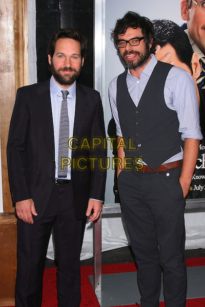 "PAUL RUDD & JEMAINE CLEMENT .attending the World Premiere of ""Dinner for Schmucks"" at the Ziegfeld Theater, New York, NY, USA, July 19th, 2010..half length grey gray waistcoat black suit tie blue shirt beard facial hair .CAP/LNC/TOM.©LNC/Capital Pictures."