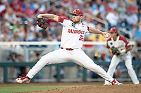 Arkansas Razorbacks pitcher Matt Cronin (32) delivers a pitch to the plate during Game 2 of the NCAA College World Series against the Florida State Seminoles on June 15, 2019 at TD Ameritrade Park in Omaha, Nebraska. Florida State defeated Arkansas 1-0. (Andrew Woolley/Four Seam Images)