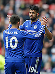 Diego Costa of Chelsea celebrates his goal with Eden Hazard of Chelsea during the Barclays Premier League match at the Stadium of Light, Sunderland. Photo credit should read: Simon Bellis/Sportimage