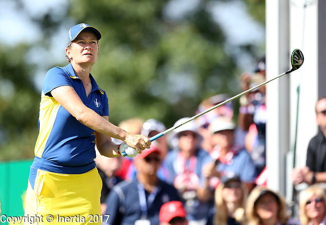 DES MOINES, IA - AUGUST 20: Europe's Catriona Matthew watches her tee shot on the first hole during her singles match Sunday morning at the 2017 Solheim Cup in Des Moines, IA. (Photo by Dave Eggen/Inertia)