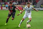 08.11.2018, BayArena, Leverkusen, Europaleque, Vorrunde, GER, UEFA EL, Bayer 04 Leverkusen (GER) vs. FC Zuerich (SUI),<br />  <br /> DFL regulations prohibit any use of photographs as image sequences and/or quasi-video<br /> <br /> im Bild / picture shows: <br /> Antonio Marchesano (FC Zuerich #10), im Zweikampf gegen  Leon Bailey (Leverkusen #9), <br /> <br /> Foto &copy; nordphoto / Meuter<br /> <br /> <br /> <br /> Foto &copy; nordphoto / Meuter