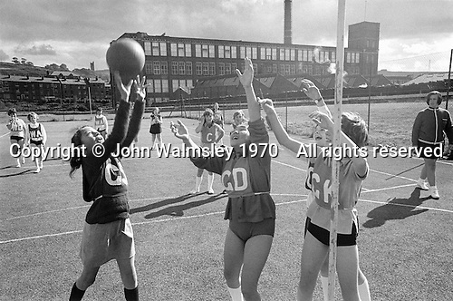 Netball, Whitworth Comprehensive School, Whitworth, Lancashire.  1970.