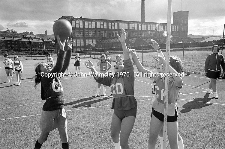 Netball, Whitworth Comprehensive School, Whitworth, Lancashire.  1970.