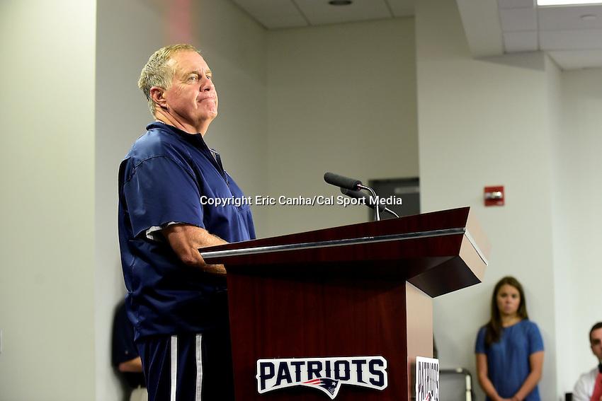 Wednesday, July 27, 2016: New England Patriots head coach Bill Belichick talks to media at a press conference at the New England Patriots training camp held Gillette Stadium in Foxborough Massachusetts. Eric Canha/CSM