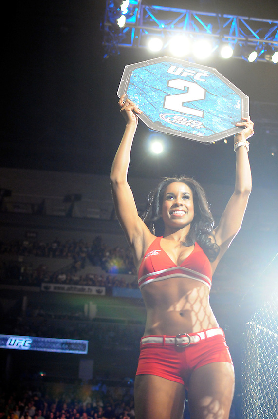 24 SEPTEMBER 2011:  An octagon girl announces round 2 of a bout   during UFC 135 at the Pepsi Center in Denver, Colorado. *****For Editorial Use Only*****