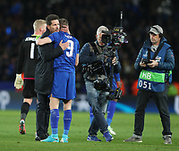 Atletico Madrid manager Diego Simeone commiserates with Leicester City's Jamie Vardy after the final whistle<br /> <br /> Photographer Stephen White/CameraSport<br /> <br /> UEFA Champions League Quarter Final Second Leg - Leicester City v Atletico Madrid - Tuesday 18th April 2017 - King Power Stadium - Leicester <br />  <br /> World Copyright &copy; 2017 CameraSport. All rights reserved. 43 Linden Ave. Countesthorpe. Leicester. England. LE8 5PG - Tel: +44 (0) 116 277 4147 - admin@camerasport.com - www.camerasport.com