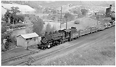 #498 leaving Durango yard southbound with four-car freight train.<br /> D&amp;RGW  Durango, CO  5/1963
