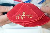 "Marc Daniels of Springfield, Illinois, who sells Jewish Campaign Kippahs (yarmulkes), shows off his red ""Ted Cruz 2016"" kippah on Euclid Avenue near the Quicken Loans Arena, site of the 2016 Republican National Convention in Cleveland, Ohio on Saturday, July 16, 2016.<br /> Credit: Ron Sachs / CNP<br /> (RESTRICTION: NO New York or New Jersey Newspapers or newspapers within a 75 mile radius of New York City)"