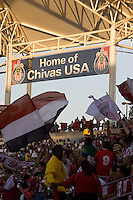 Chivas USA banner inside the HDC stadium. Chivas USA defeated the Chicago Fire 2-0 at the Home Depot Center stadium in Carson, California on Thursday, June 19, 2008.