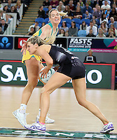 04.09.2016 Silver Ferns Jane Watson and Australia's Caitlin Bassett in action during the Netball Quad Series match between the Silver Ferns and Australia played at Margaret Court Arena in Melbourne. Mandatory Photo Credit ©Michael Bradley.