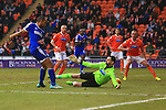 Forest's Dexter Blackstock scores his sides first goal - Blackpool vs. Nottingham Forest - Skybet Championship - Bloomfield Road - Blackpool - 14/02/2015 Pic Philip Oldham/Sportimage