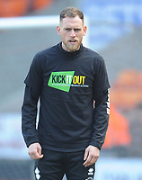 Blackpool's Harry Pritchard during the pre-match warm-up <br /> <br /> Photographer Kevin Barnes/CameraSport<br /> <br /> The EFL Sky Bet League One - Blackpool v Peterborough United - Saturday 13th April 2019 - Bloomfield Road - Blackpool<br /> <br /> World Copyright &copy; 2019 CameraSport. All rights reserved. 43 Linden Ave. Countesthorpe. Leicester. England. LE8 5PG - Tel: +44 (0) 116 277 4147 - admin@camerasport.com - www.camerasport.com