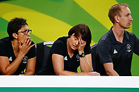 Head Coach Janine Southby of New Zealand reacts. Gold Coast 2018 Commonwealth Games, Netball, New Zealand Silver Ferns v England, Gold Coast Convention and Exhibition Centre, Gold Coast, Australia. 11 April 2018 © Copyright Photo: Anthony Au-Yeung / www.photosport.nz /SWpix.com