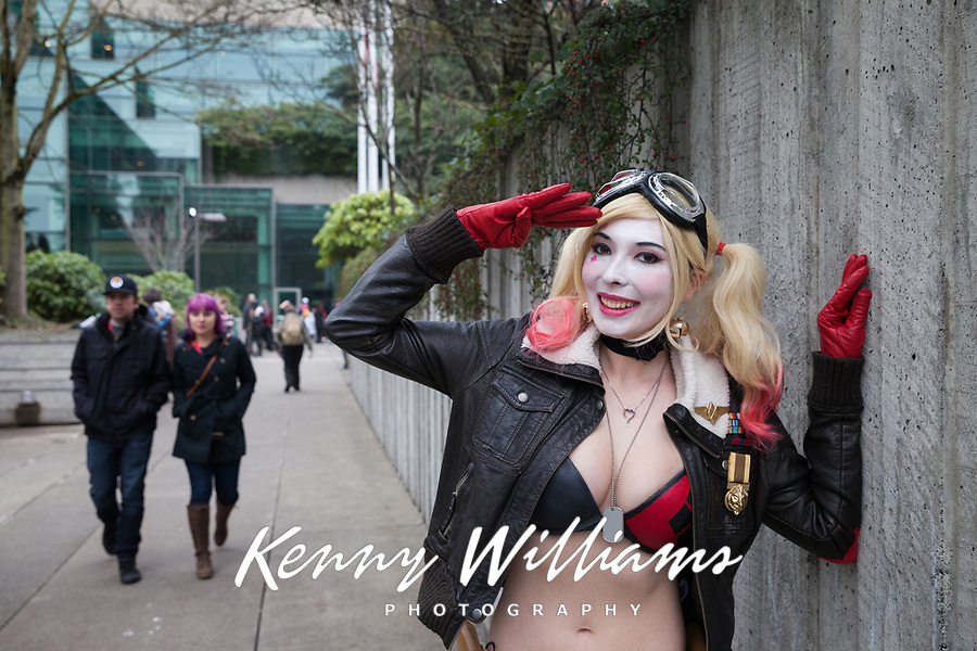 Harley Quinn Bomber Cosplay, Emerald City Comicon 2017, Seattle, WA, USA.
