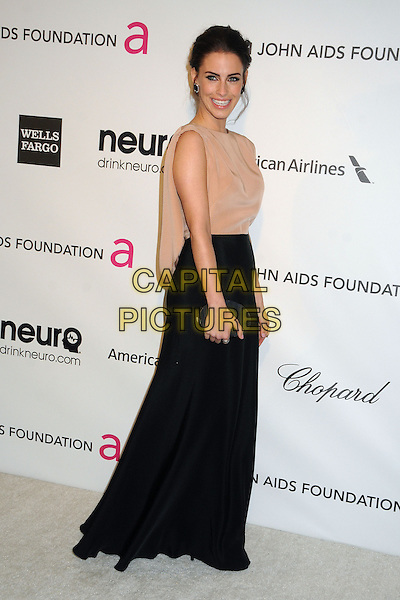 Jessica Lowndes.21st Annual Elton John Academy Awards Viewing Party held at West Hollywood Park, West Hollywood, California, USA..February 24th, 2013.oscars full length dress beige sheer sleeveless black skirt clutch bag side .CAP/ADM/BP.©Byron Purvis/AdMedia/Capital Pictures.