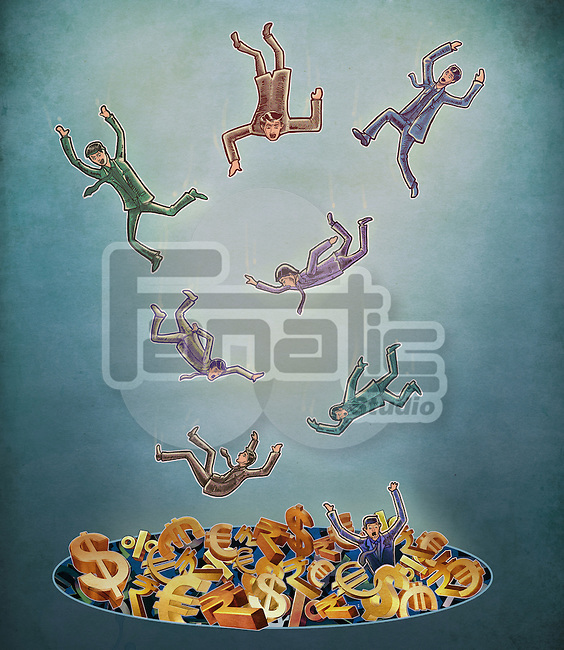 Illustrative image of businessmen falling in debt over colored background