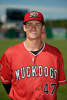 Batavia Muckdogs Jack Strunc (47) poses for a photo before a NY-Penn League game against the West Virginia Black Bears on June 26, 2019 at Dwyer Stadium in Batavia, New York.  Batavia defeated West Virginia 4-2.  (Mike Janes/Four Seam Images)