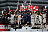 #97 OMAN RACING WITH TF SPORT (OMN) ASTON MARTIN VANTAGE AMR GT3 PRO-AM CUP SALIH YOLUC (TRK) AHMAD AL HARTHY (OMN) CHARLIE EASTWOOD (IRL) NICKI THIIM (DNK) PRO AM WINNER TOTAL 24H OF SPA<br /> #74 RAM RACING (GBR) MERCEDES AMG GT3 PRO AM CUP REMON VOS (NDL) DARREN BURKE (GBR) TOM ONSLOW COLE (GBR) CHRISTIAAN FRANKENHOUT (NDL) PRO AM SECOND <br /> #43 STRAKKA RACING (GBR) MERCEDES-AMG GT3 RICHARD HEISTAND (USA) ) CHRISTINA NIELSEN (DNK) DAVID FUMANELLI (ITA) JACK HAWKSWORTH GBR) PRO AM THIRD