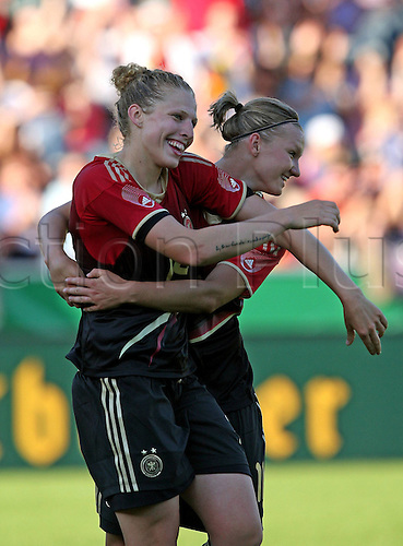 03.06.2011. International Womens Frienfly Football. Germany versus Italy.   Scorer Kim Kulig Germany celebrates with Alexandra Popp Germany as Germany score their 3rd goal of the game