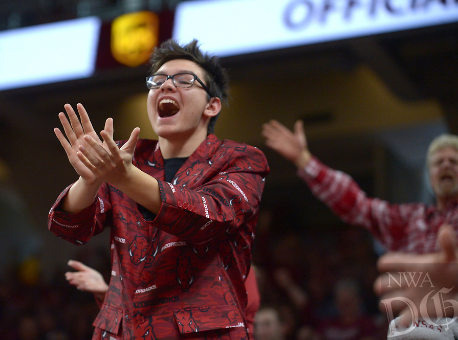NWA Democrat-Gazette/ANDY SHUPE<br /> Arkansas Texas State Saturday, Dec. 22, 2018, during the first half in Bud Walton Arena. Visit nwadg.com/photos to see more photographs from the game.