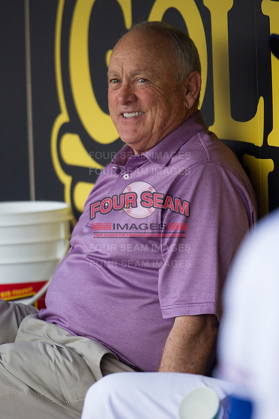 Round Rock Express Principal Owner and Hall of Famer Nolan Ryan smiles in the dugout before the Pacific Coast League baseball game against the Oklahoma City Redhawks on April 3, 2014 at the Dell Diamond in Round Rock, Texas. The Redhawks defeated the Express 7-6 in the season opener for both teams. (Andrew Woolley/Four Seam Images)
