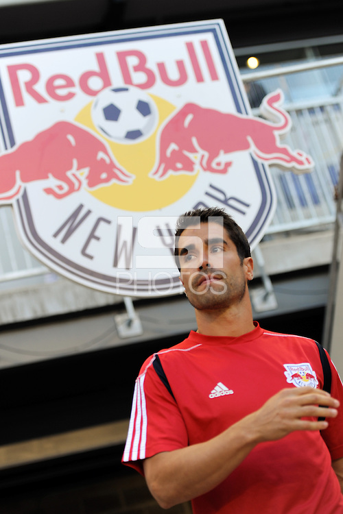 Juan Pablo Angel (9) of the New York Red Bulls comes out for warmups. The Los Angeles Galaxy defeated the New York Red Bulls 1-0 during a Major League Soccer (MLS) match at Red Bull Arena in Harrison, NJ, on August 14, 2010.