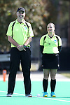 DURHAM, NC - NOVEMBER 11: Referee Maggie Giddens (right) and assistant referee Tim Vaughn (left). The Duke University Blue Devils hosted the Miami University (Ohio) Redhawks on November 11, 2017 at Jack Katz Stadium in Durham, NC in an NCAA Division I Field Hockey Tournament First Round game. Duke won the game 4-2.