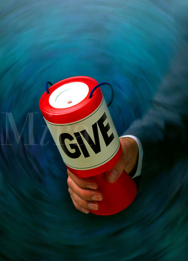 Businessman carrying a can and collecting donations.