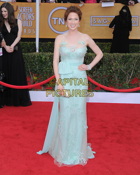 Ellie Kemper.Arrivals at the 19th Annual Screen Actors Guild Awards at the Shrine Auditorium in Los Angeles, California, USA..27th January 2013.SAG SAGs full length blue lace strapless dress hand on hip pale bow sash.CAP/DVS.©DVS/Capital Pictures.