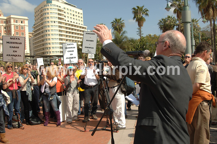 **ALL ROUND EXCLUSIVE PICTURES FROM SOLARPIX.COM**.**WORLDWIDE SYNDICATION RIGHTS**.Expats in Spain demonstrate in the centre of Malaga campaigning for the legalisation, and against demolition, of their homes. Around 1000 people marched through the main shopping street in the city, and then around the centre. Malaga, Spain. 17 March 2010..This pic: Phil Smalley, organiser..JOB REF: 10911 IST     DATE: 17_03_2010.**MUST CREDIT SOLARPIX.COM OR DOUBLE FEE WILL BE CHARGED**.**MUST AGREE FEE BEFORE ONLINE USAGE**.**CALL US ON: +34 952 811 768 or LOW RATE FROM UK 0844 617 7637**