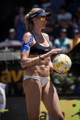 26.06.2016. San Francisco, California, USA.  Kerri Walsh Jennings gets ready to serve in the championship match during the AVP San Francisco Open in San Francisco, CA.