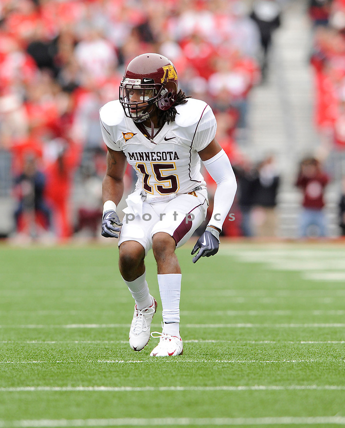 TRAYE SIMMONS, of the Minnesota Golden Gophers in action during the Gophers  game against the Ohio State Buckeyes on October 24, 2009 in Columbus, OH. Ohio State won 38-7...