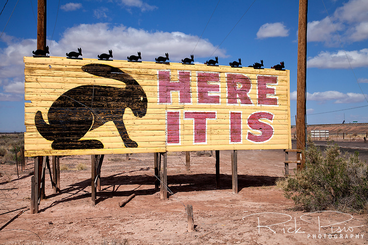 Here it is. Billboard marking the location of the Jackrabbit trading post on Route 66 in Joseph City, Arizona