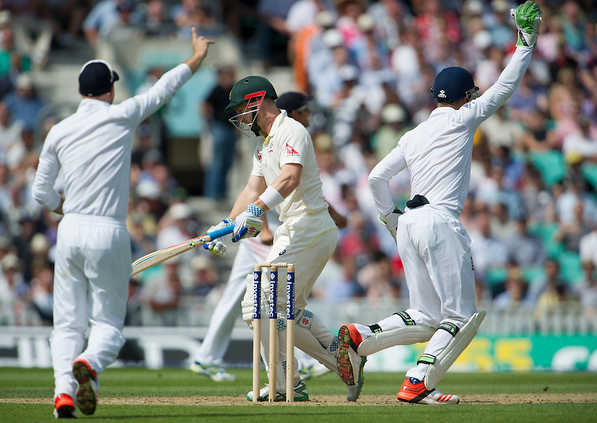Australia's Peter Nevill dismissed, caught behind by Jos Buttler off the bowling of Moeen Ali for 18<br /> <br /> Photographer Ashley Western/CameraSport<br /> <br /> International Cricket - Investec Ashes Test Series 2015 - Fifth Test - England v Australia - Day 2 - Friday 21st August 2015 - Kennington Oval - London<br /> <br /> &copy; CameraSport - 43 Linden Ave. Countesthorpe. Leicester. England. LE8 5PG - Tel: +44 (0) 116 277 4147 - admin@camerasport.com - www.camerasport.com