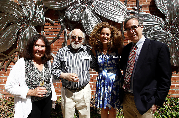 Waterbury, CT- 22 June 2014-062214CM10-  Left to right artists, Kathy Anderson of Redding, Daniel Greene of North Salem, NY, Babette Bloch and her husband Marc Mellon are photographed during the Mattatuck Museum's opening reception of its summer exhibition in Waterbury on Sunday.  Christopher Massa Republican-American