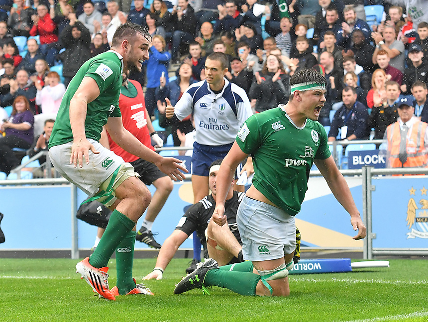 Greg Jones of Ireland (left) helps team mate, Max Deegan, celebrate the final try of the game<br /> <br /> Photographer Dave Howarth/CameraSport<br /> <br /> International Rugby Union - U20 World Rugby Championships 2016 - Pool A - New Zealand U20 v Ireland U20 - Match 10 - Saturday 11th June 2016 - Manchester City Academy Stadium - Manchester<br /> <br /> World Copyright &copy; 2016 CameraSport. All rights reserved. 43 Linden Ave. Countesthorpe. Leicester. England. LE8 5PG - Tel: +44 (0) 116 277 4147 - admin@camerasport.com - www.camerasport.com<br /> <br /> Photographer Stephen White/CameraSport<br /> <br /> International Rugby Union - U20 World Rugby Championships 2016 - Pool C France U20 v Argentina U20 - Match 1 - Tuesday 07th June 2016 - AJ Bell Stadium - Salford - England<br /> <br /> World Copyright &copy; 2016 CameraSport. All rights reserved. 43 Linden Ave. Countesthorpe. Leicester. England. LE8 5PG - Tel: +44 (0) 116 277 4147 - admin@camerasport.com - www.camerasport.com