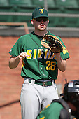 February 21, 2010:  Pitcher Kyle Sumple (28) of the Siena Saints during a game at Melching Field at Conrad Park in DeLand, FL.  Siena lost to Stetson by the score of 8-7.  Photo By Mike Janes/Four Seam Images