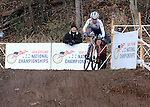 January 10, 2016 - Asheville, North Carolina, U.S. -  Women's U23 cyclist, Ellen Noble, negotiates a steep downhill on her way to victory during the USA Cycling Cyclo-Cross National Championships at the historic Biltmore Estate, Asheville, North Carolina.