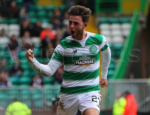 02.04.2016. Celtic Park, Glasgow, Scotland. Scottish Football Premiership Celtic versus Hearts. Patrick Roberts celebrates his goal that put Celtic in front