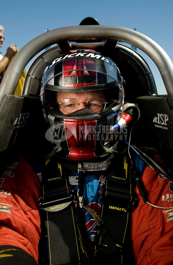 Sept. 5, 2010; Clermont, IN, USA; NHRA top fuel dragster driver Bruce Litton during qualifying for the U.S. Nationals at O'Reilly Raceway Park at Indianapolis. Mandatory Credit: Mark J. Rebilas-