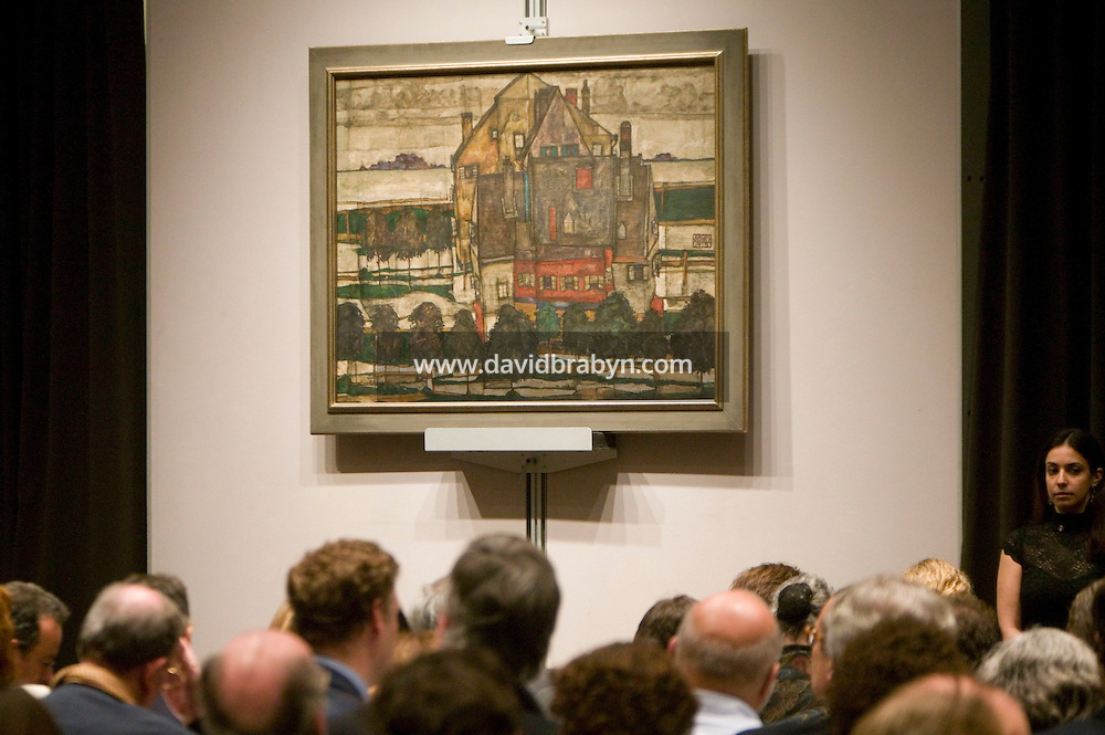 8 November 2006 - New York City, USA - Egon Schiele's Einzelne Hauser (Hauser mit Bergen) stands on display during an Impressionist and Modern Art Sale at Christie's in New York City, NY, which realized $491,472,000 and nine new world auction records, 8 November 2006.