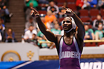 CLEVELAND, OH - MARCH 10: Jairod James, of Mount Union, celebrates his win in the 174 weight class during the Division III Men's Wrestling Championship held at the Cleveland Public Auditorium on March 10, 2018 in Cleveland, Ohio. (Photo by Jay LaPrete/NCAA Photos via Getty Images)