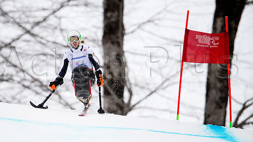 14.03.2014. Sochi, Russia.  Gold medalist Anna Schaffelhuber of Germany competes in the Women's Super G - Sitting of the Super Combined in Rosa Khutor Alpine Center at the Sochi 2014 Paralympic Winter Games, Krasnaya Polyana, Russia, 14 March 2014.