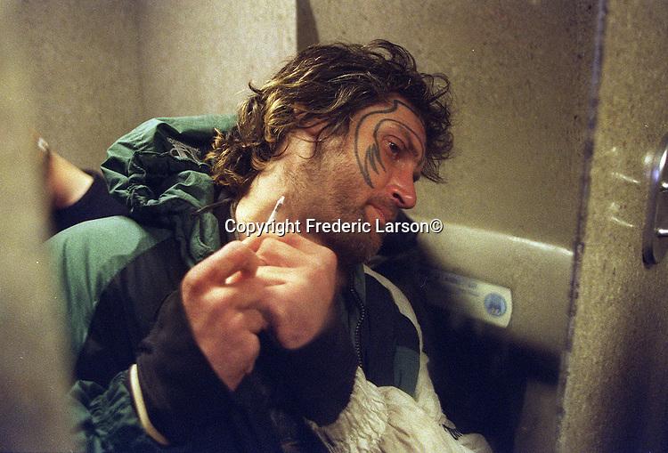 """""""Dirthead"""" and Dante share a space toilet near Golden Gate Park to shoot-up drugs In San Francisco, California."""