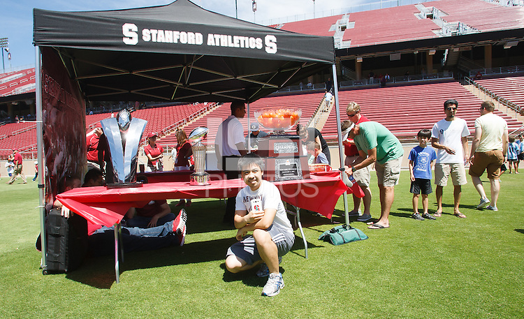 STANFORD,CA-- August 24, 2013: Fans during the 2013 Stanford Football Open House Saturday afternoon at Stanford Stadium.