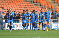 Gillingham's Tom Eaves (right) celebrates scoring his side's third goal <br /> <br /> Photographer Kevin Barnes/CameraSport<br /> <br /> The EFL Sky Bet League One - Blackpool v Gillingham - Saturday 4th May 2019 - Bloomfield Road - Blackpool<br /> <br /> World Copyright © 2019 CameraSport. All rights reserved. 43 Linden Ave. Countesthorpe. Leicester. England. LE8 5PG - Tel: +44 (0) 116 277 4147 - admin@camerasport.com - www.camerasport.com