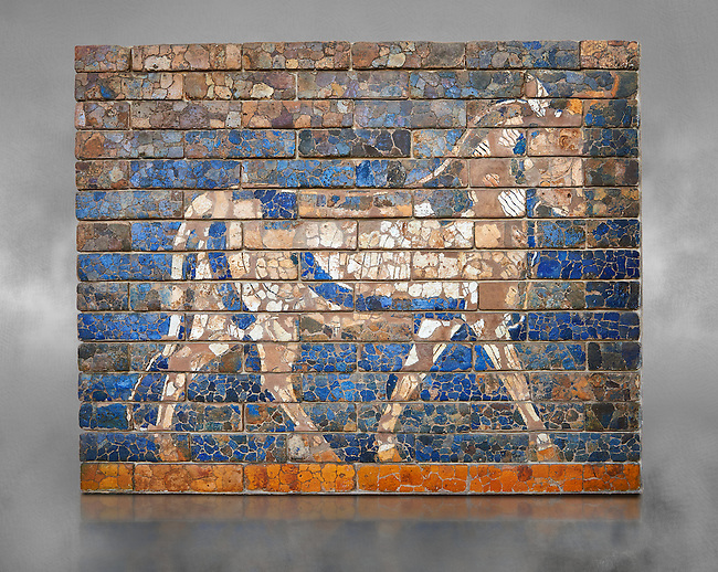Coloured glazed brick panels depicting bulls, the symbol of the weather god Adad, from the facade of the  first smaller Ishtar Gate, Babylon, dating from 604-562 BC. Babylon (present day Iraq). The Ishtar Gate, Babylon, was situated in the northern wall of the city and was named after the goddess Ishtar. The ground plan and debris of the gate buildings were uncovered during the German excavation from 1899-1917 directed by Robert Koldewey. The Vorderasiatisches Museum, part of the Pergamon Museum, Berlin
