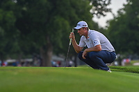 Justin Rose (GBR) lines up his putt on 18 during round 4 of the Fort Worth Invitational, The Colonial, at Fort Worth, Texas, USA. 5/27/2018.<br /> Picture: Golffile | Ken Murray<br /> <br /> All photo usage must carry mandatory copyright credit (© Golffile | Ken Murray)