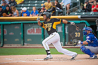 Alfredo Marte (21) of the Salt Lake Bees at bat against the Oklahoma City Dodgers in Pacific Coast League action at Smith's Ballpark on May 25, 2015 in Salt Lake City, Utah.  (Stephen Smith/Four Seam Images)
